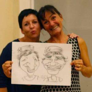 Exemple de caricature de couple pendant une soirée