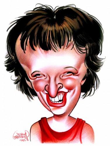 Caricature de Anne Roumanoff, humoriste française. Cette illustration en couleur est faite au crayon