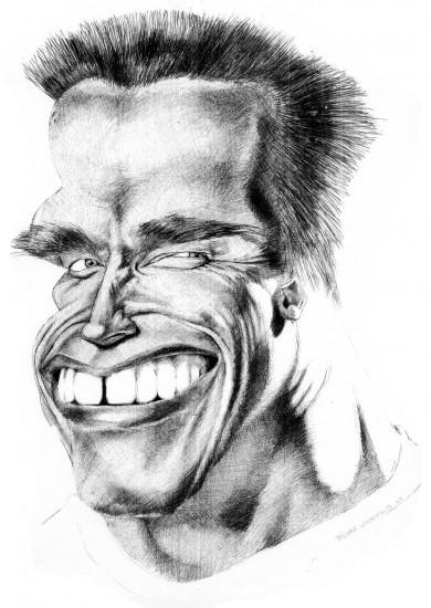 Caricature de Arnold Schwarzenegger, acteur et homme politique américain