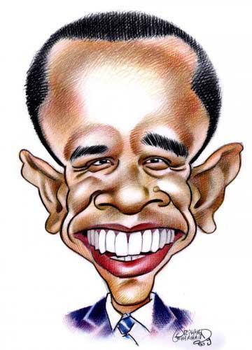 Caricature de Barack Obama, président américain.