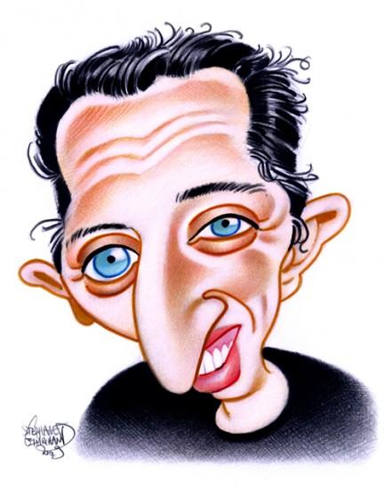 Caricature de Gad Elmaleh, humoriste. Dessin au crayon d art