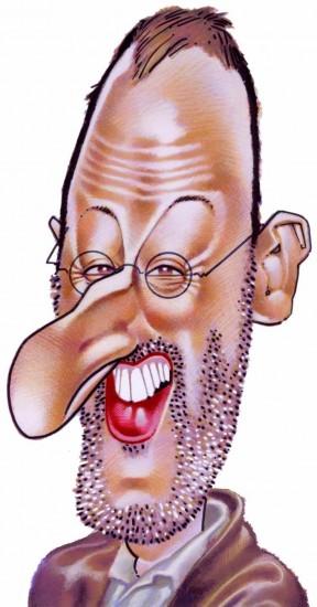 Caricature de Jean Reno. Acteur Français. Illustration en couleur