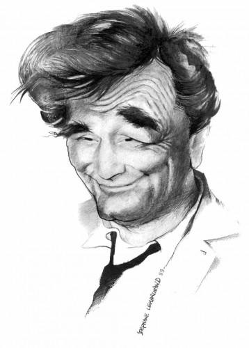 Caricature de Peter Falk. Acteur Français, dans la série policière Columbo. Dessin au crayon en noir et blanc