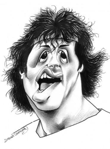 Caricature acteur amériain Sylvester Stallone