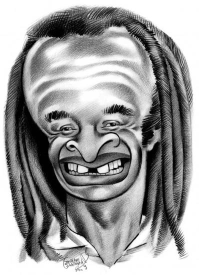 Caricature de Yannick Noah. Célébrité française.