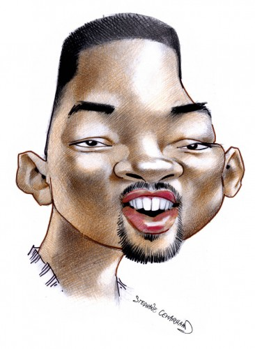 Caricature de Will Smith, acteur americain