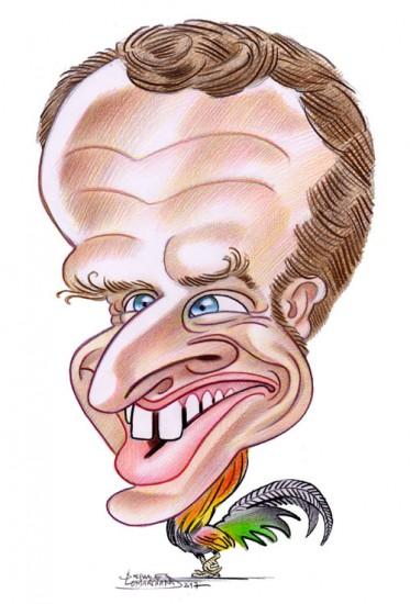 Caricature de Emmanuel Macron, président de la France. Illustration