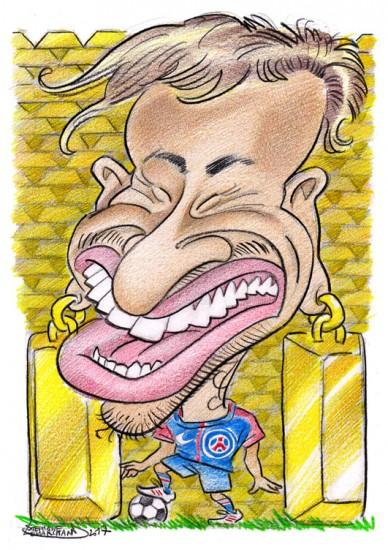 caricature de Neymar, footballeur au PSG