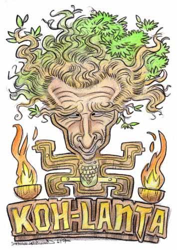Caricature de Denis Brogniart, présentateur de Koh Lanta. Dessin en couleur