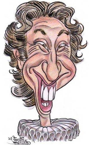 caricature de Stéphane Bern, présentateur de télévision et journaliste
