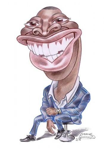 Caricature de Omar Sy, géant du cinéma.