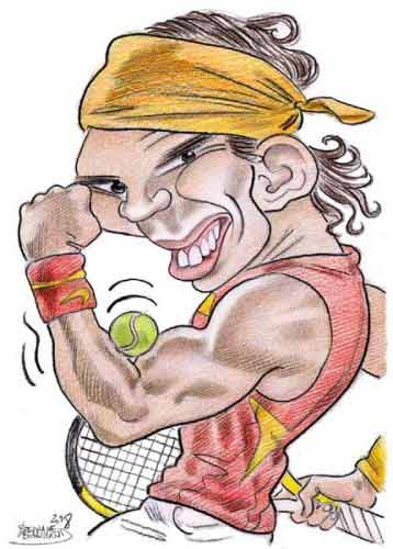 Caricature de Rafael Nadal, champion de tennis