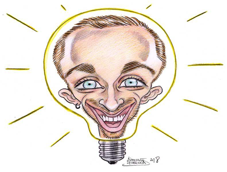 caricature de Squeezie, célèbre youtuber