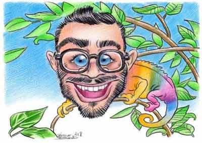 Caricature de Cyprien, célèbre youtuber