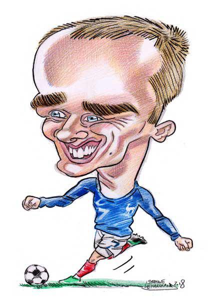 caricature de griezmann, footballeur