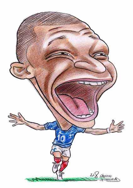 caricature de mbappe, footballeur