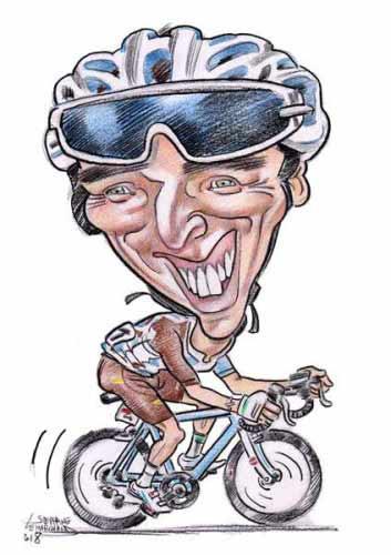 Caricature de Romain Bardet, coureur cycliste
