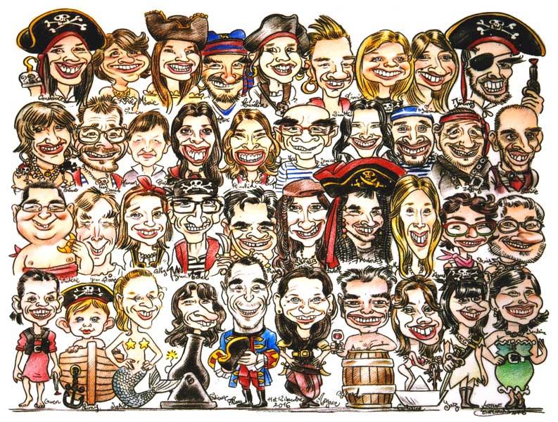 caricature de groupe en couleur