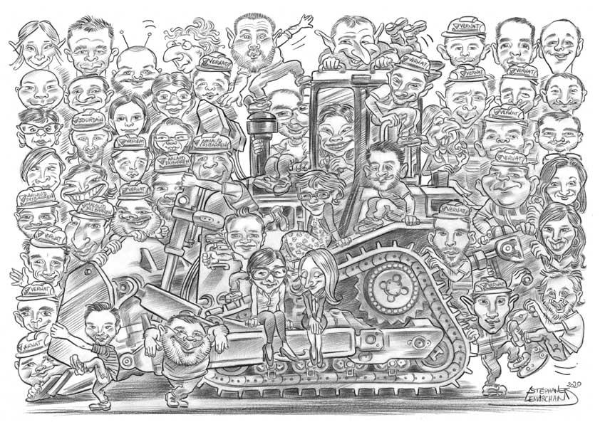 caricature en noir et blanc, domaine du BTP