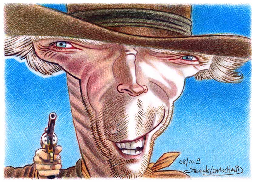 caricature de clint eastwood, acteur